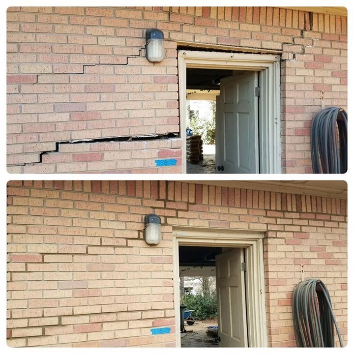 Foundation issues are detrimental to any home or workplace. These issues can range from minor to major and there are various signs indicating that an issue exist. This image shows the separation of brick along the left and right hand side of this door frame. This is a great before and after image detailing the benefits of fixing your foundation.