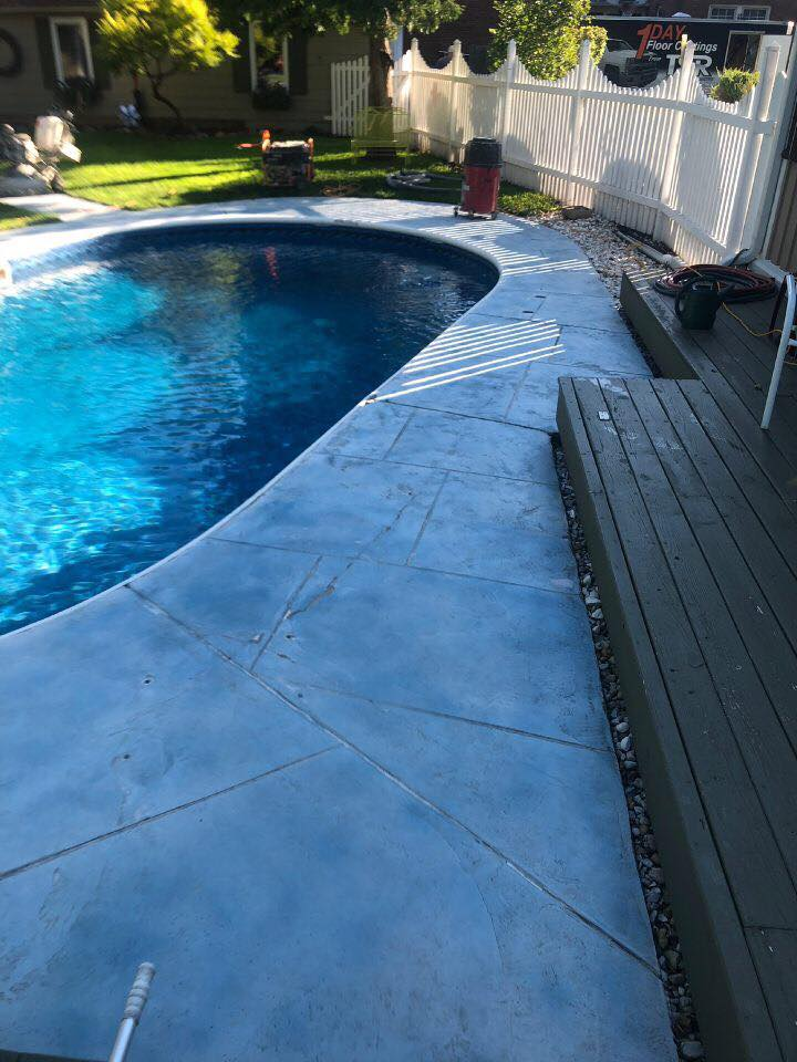 As you can see from our images, we are able to take an old, worn out surface and make it new again! You won't even recognize your old swimming pool deck when you return home from work. You'll be amazed at our durability, beautiful color selection & strong warranty policy!