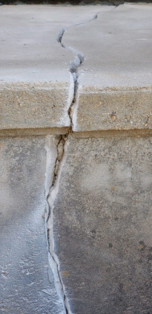 Cracks like this can exist on the surface and in the sub-terrain. Oftentimes, they go unnoticed until they become large enough to see from a few feet away. Our Foundation Repair division can follow the breadcrumbs to identify the source of shifting a take action to prevent future movement.